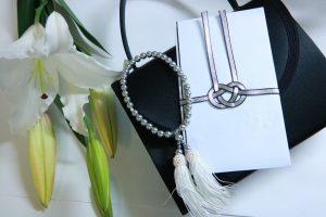 香典袋 白ユリ 数珠